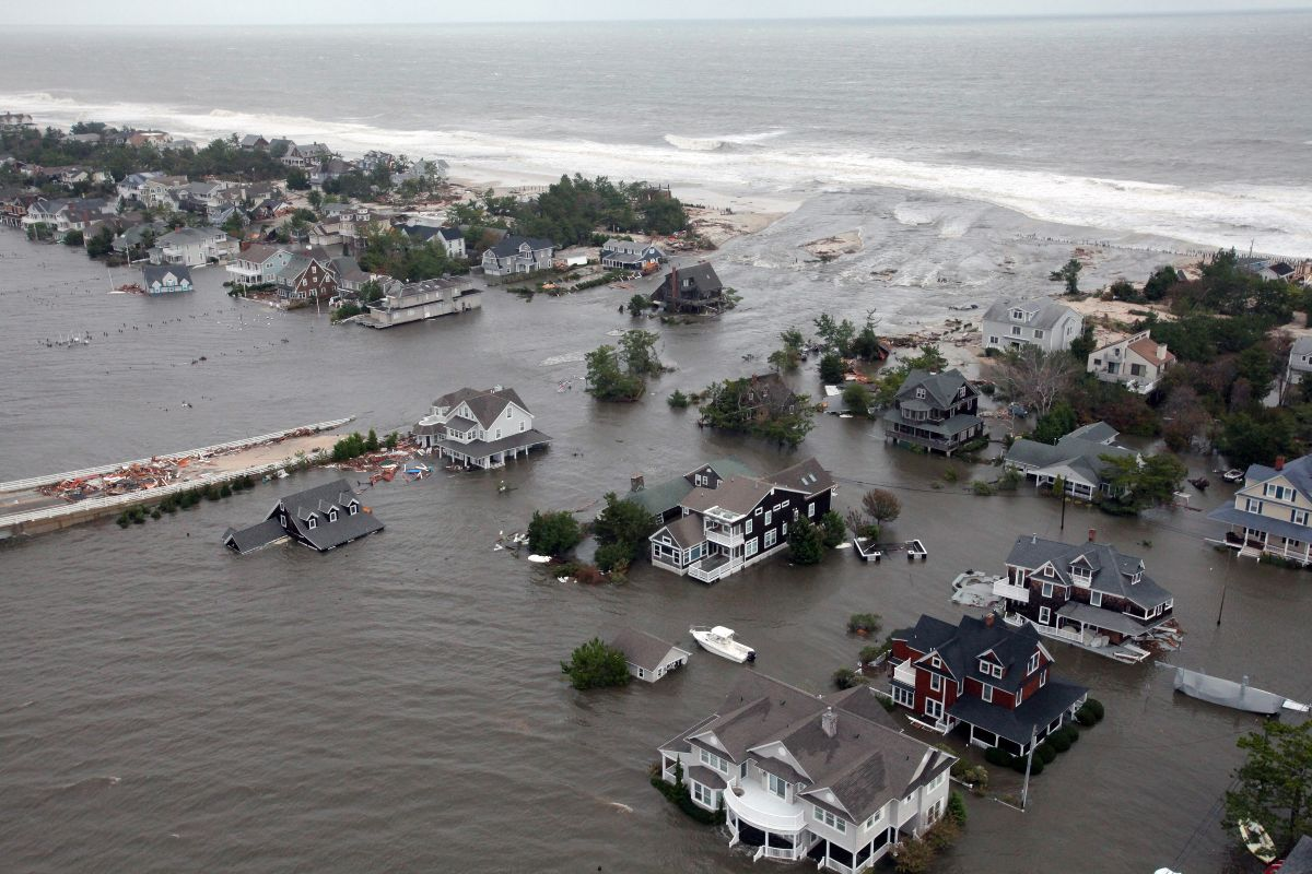 Houses inundated by Sandy storm surge