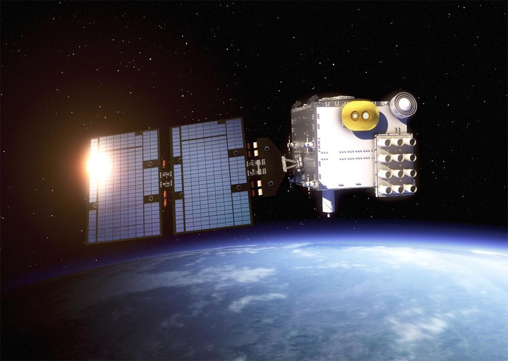 An artist's rendering of a COSMIC-2 satellite