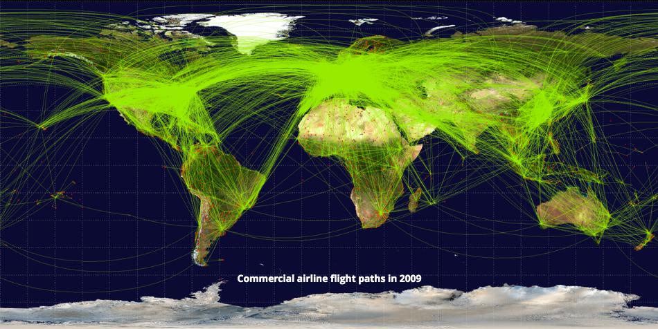 World airline routemap, 2009
