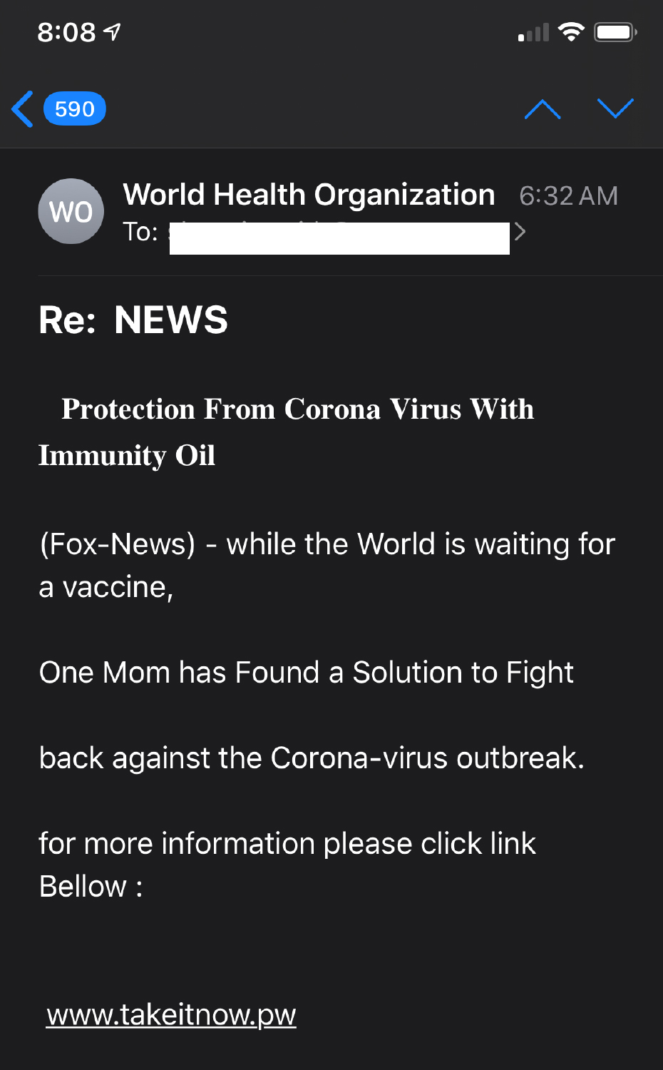 Image of scam email received by Washingtonian