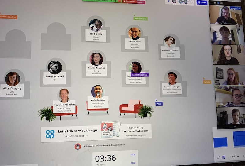 Screenshot of a virtual fishbowl discussion in Miro