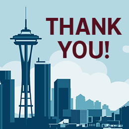 A blue-hued graphic of the skyline of Seattle with text that reads: THANK YOU!