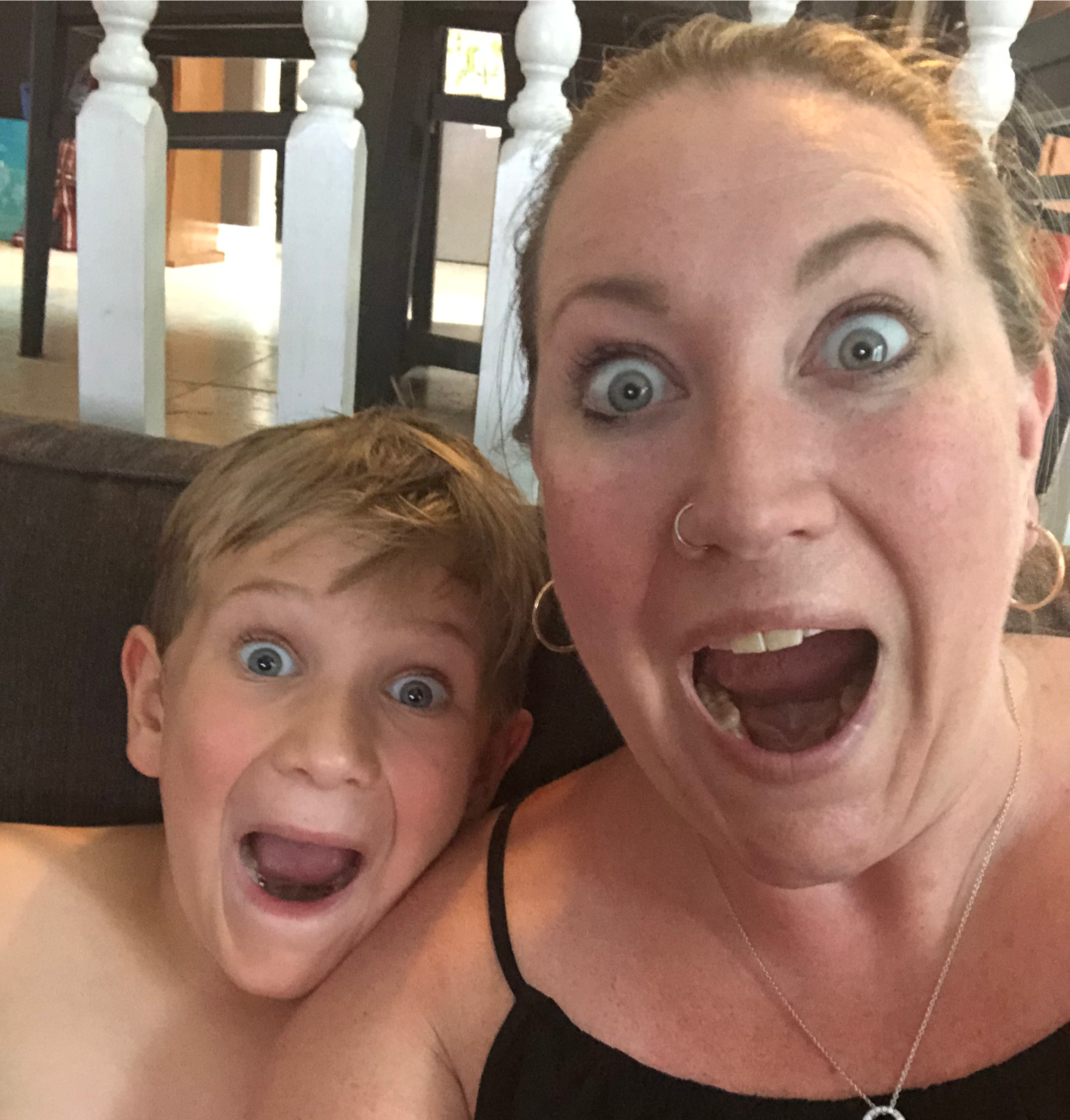 Ashleigh, our Comms Director and her son open mouthed with excitement