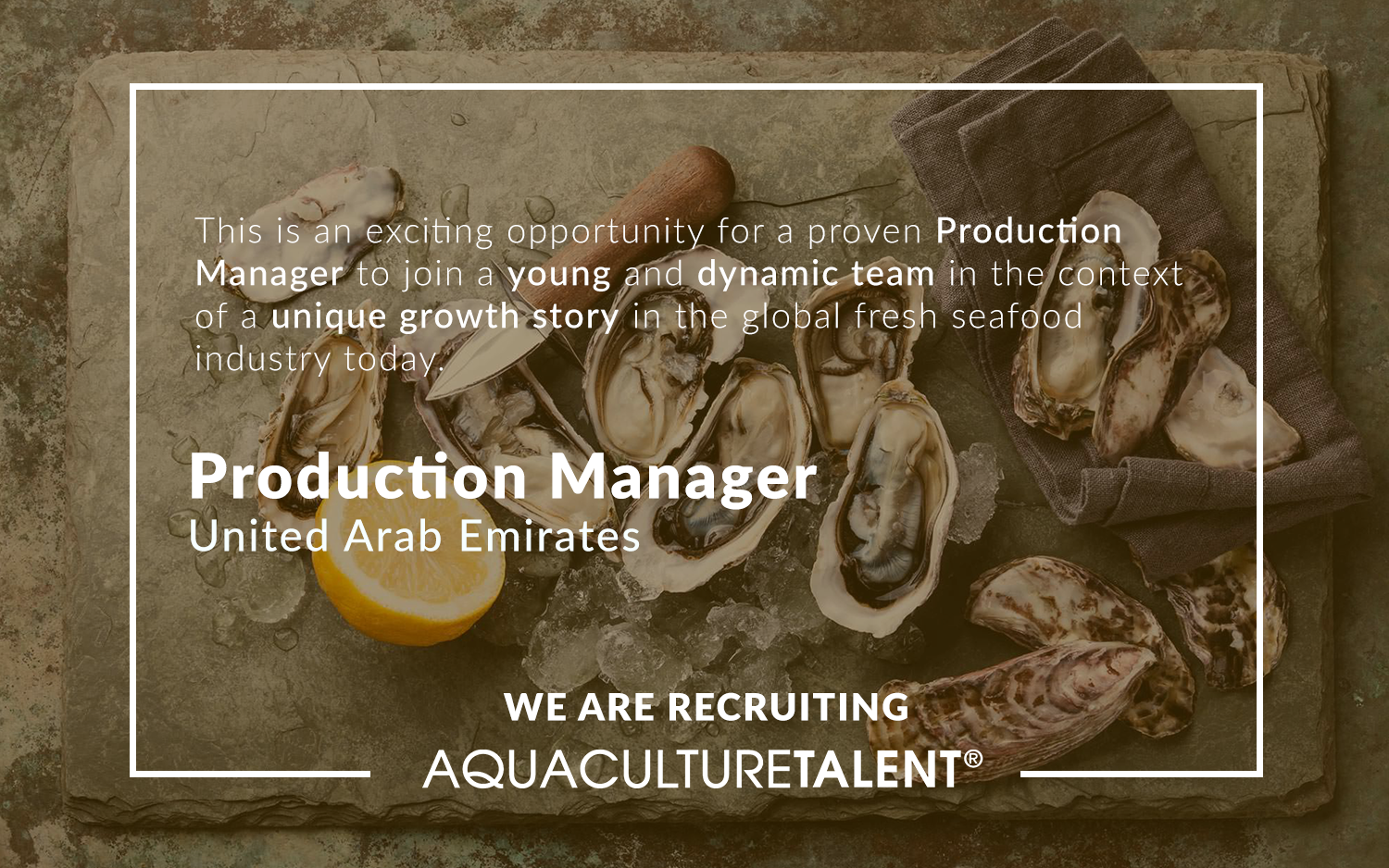 This is an excellent opportunity to join a successful and fast growing shellfish farm who are committed to supplying an excellent standard of product, with the vision to become one of the world's leading shellfish farms.
