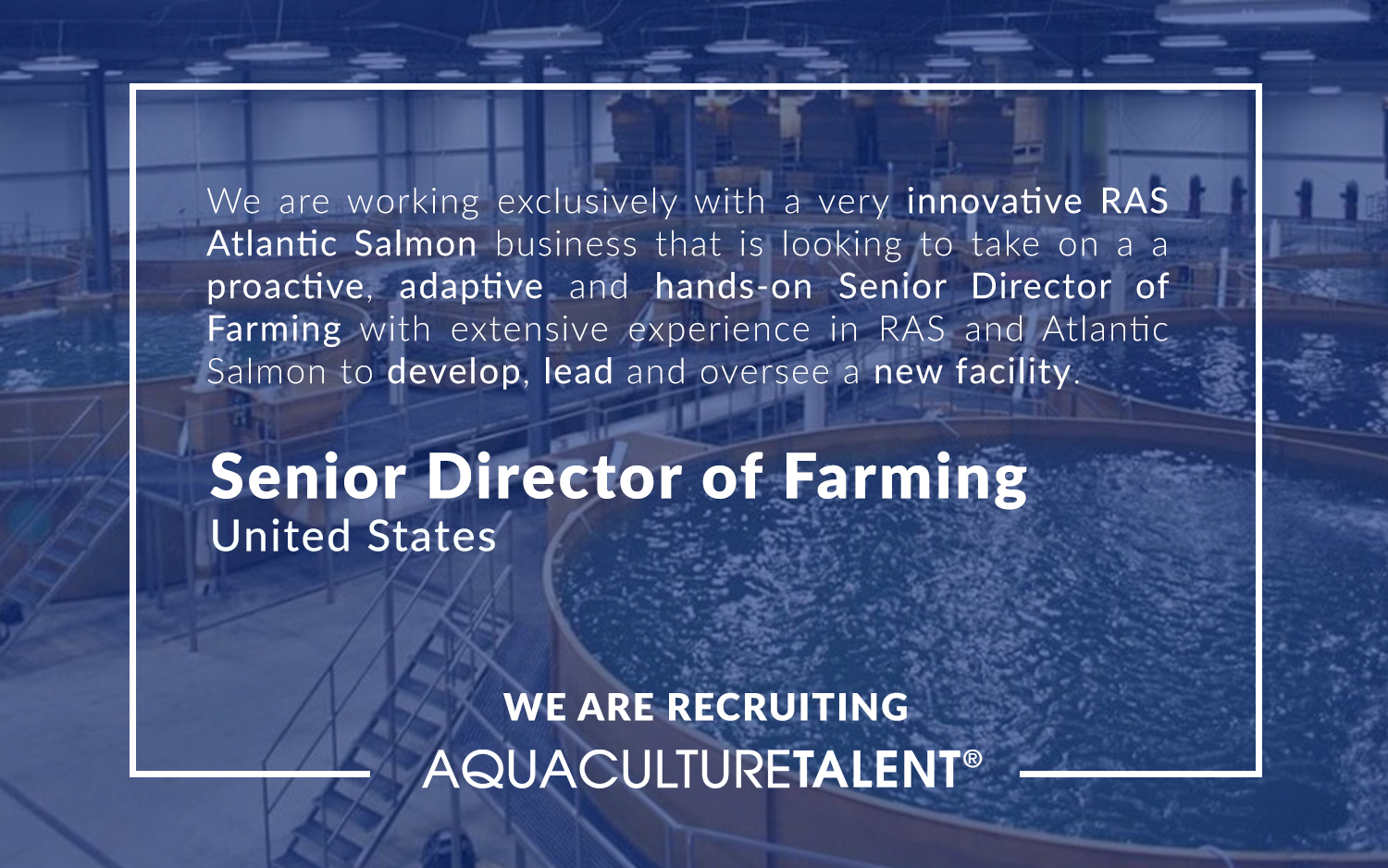 We are working exclusively with a very innovative RAS Atlantic Salmon business that is looking to take on a a proactive, adaptive and hands-on Senior Director of Farming with extensive experience in RAS and Atlantic Salmon to develop, lead and oversee a new facility.