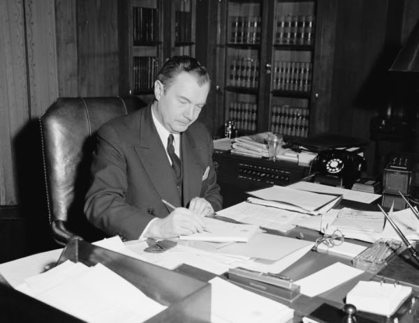 Attorney General Jackson, at work in his office.