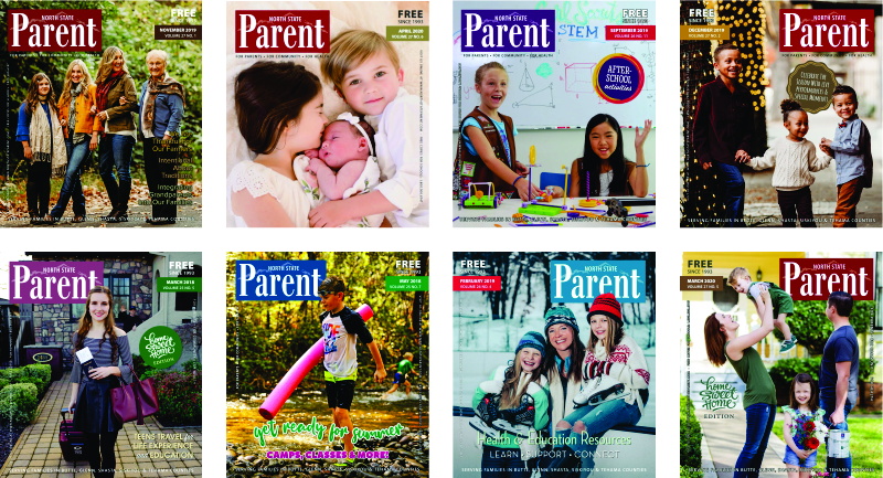 north state parent spread of magazines