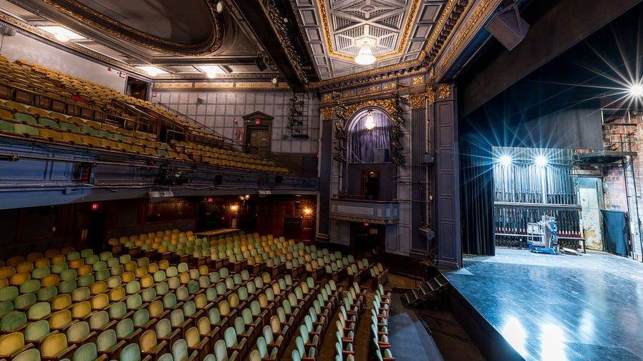 Empty interior of Huntington Theatre Company's theater