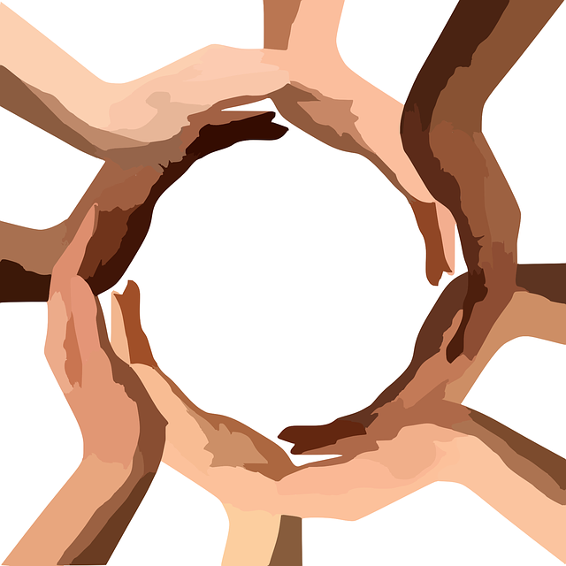 Diverse hands forming a circle