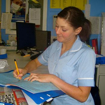 Nurse in office