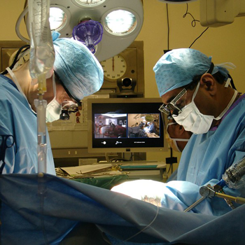 Two surgeons performing an operation