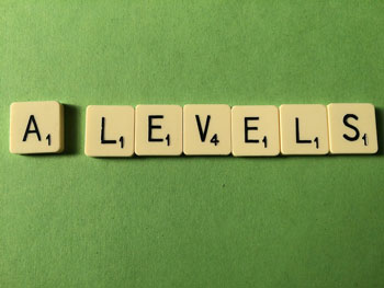 A-levels spelt our with Scrabble tiles
