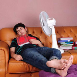Boy on sofa with fan