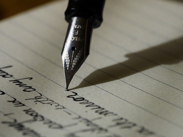 Fountain pen writing on paper
