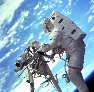 An astronaut spacewalking