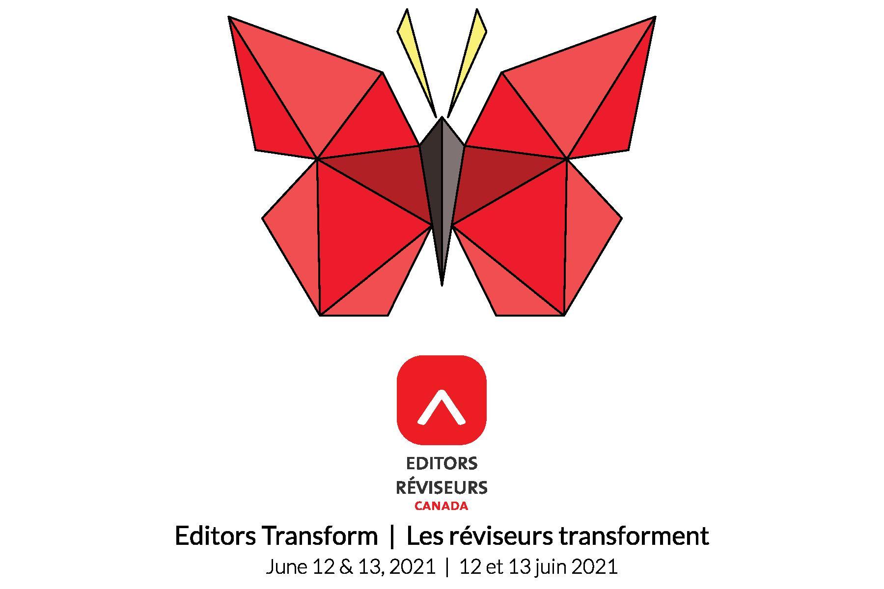 Congrès 2021 de Réviseurs Canada: Les réviseurs transforment / logo du congrès (image d'un papillon rouge en origami) et le logo et mot-symbole de Réviseurs Canada