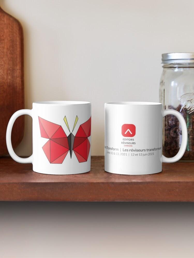 Two mugs showing Editors Canada logo