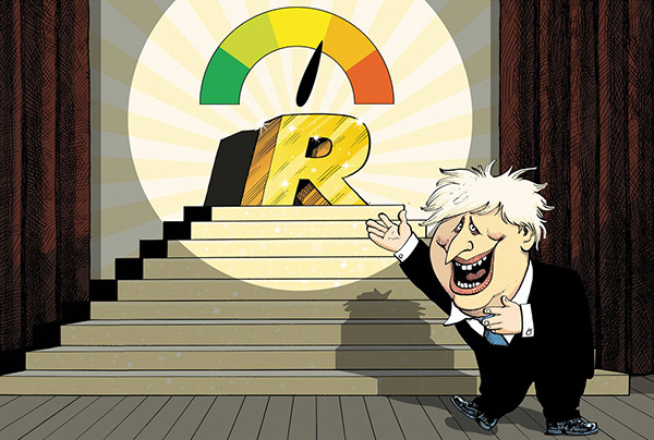 Cartoon of Boris Johnson presenting a colourful dial with a needle pointing to '1' showing the R value.