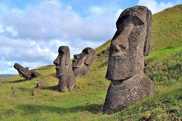 Monolithic stone statues of human figures on Easter Island