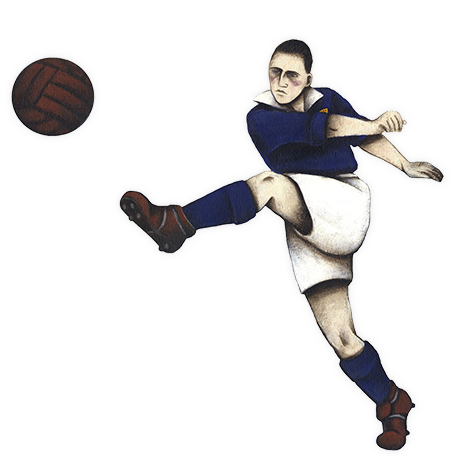 Football Memories logo depicting a 1950s football player kicking a leather football