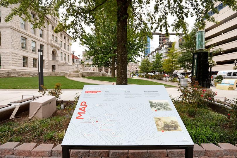 Photograph of the first destination of the African American Heritage Walking Tour located near the Old Courthouse downtown Lexington.