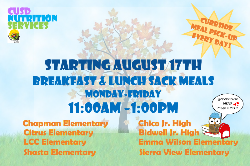 Poster listing free meals for kids, daily from 11 a.m. - 1 p.m.
