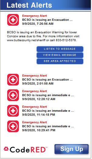 "Screenshot of the ""Butte County Sheriff's Office Emergency Alert"""