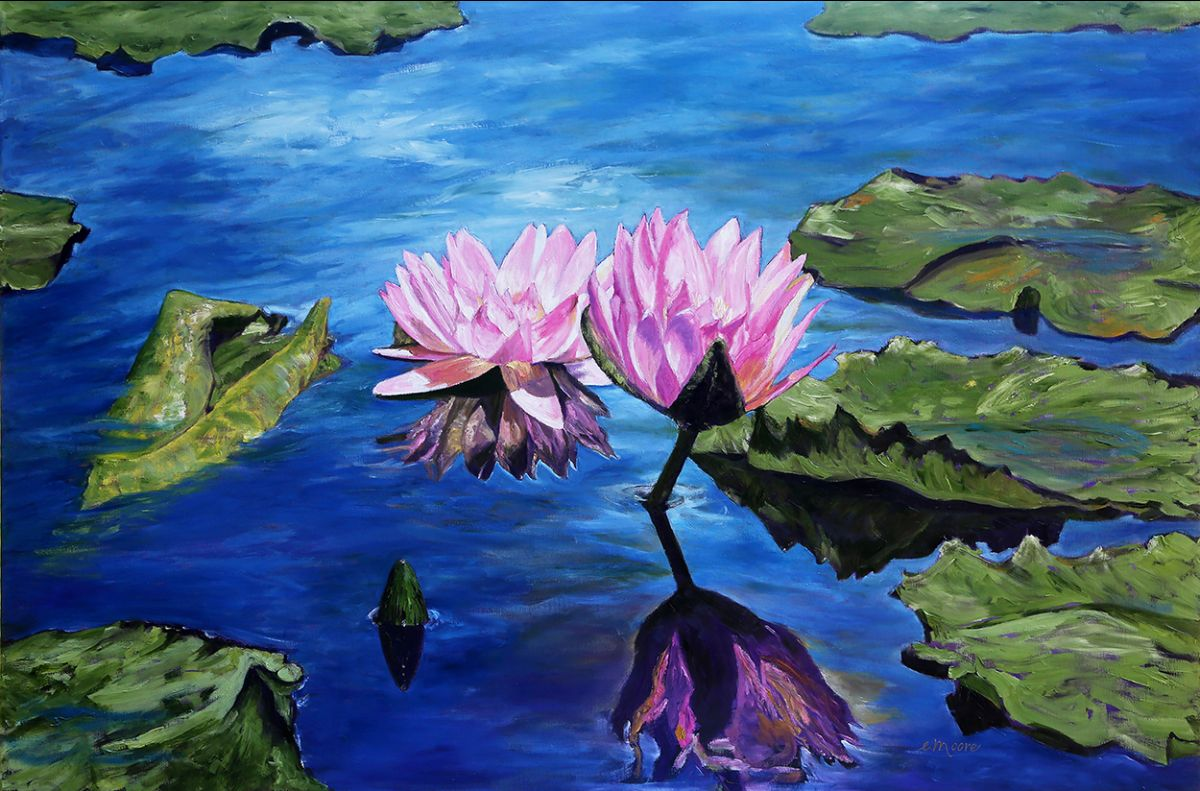 Waterlily Nymphs, an original oil painting by Elizabeth (Betty) Moore
