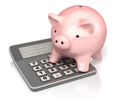 pink piggy bank sitting on a calculator