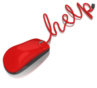 "red computer mouse with cord spelling ""help"""