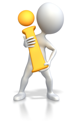 Cartoon style figure holding a yellow letter i