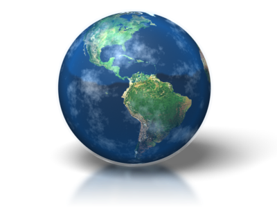 blue globe showing north and south america