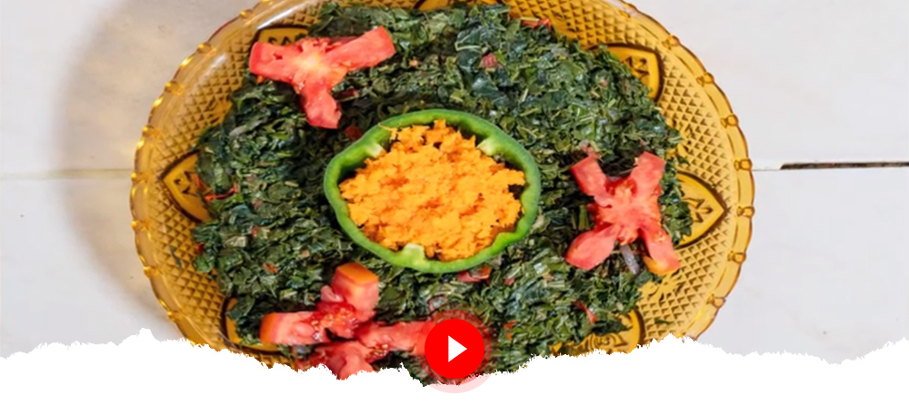 Cassava Meal: Cassava Ugali Served with Stewed Cassava Leaves
