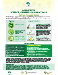 OFAB Kenya Science Journalism Grant 2021