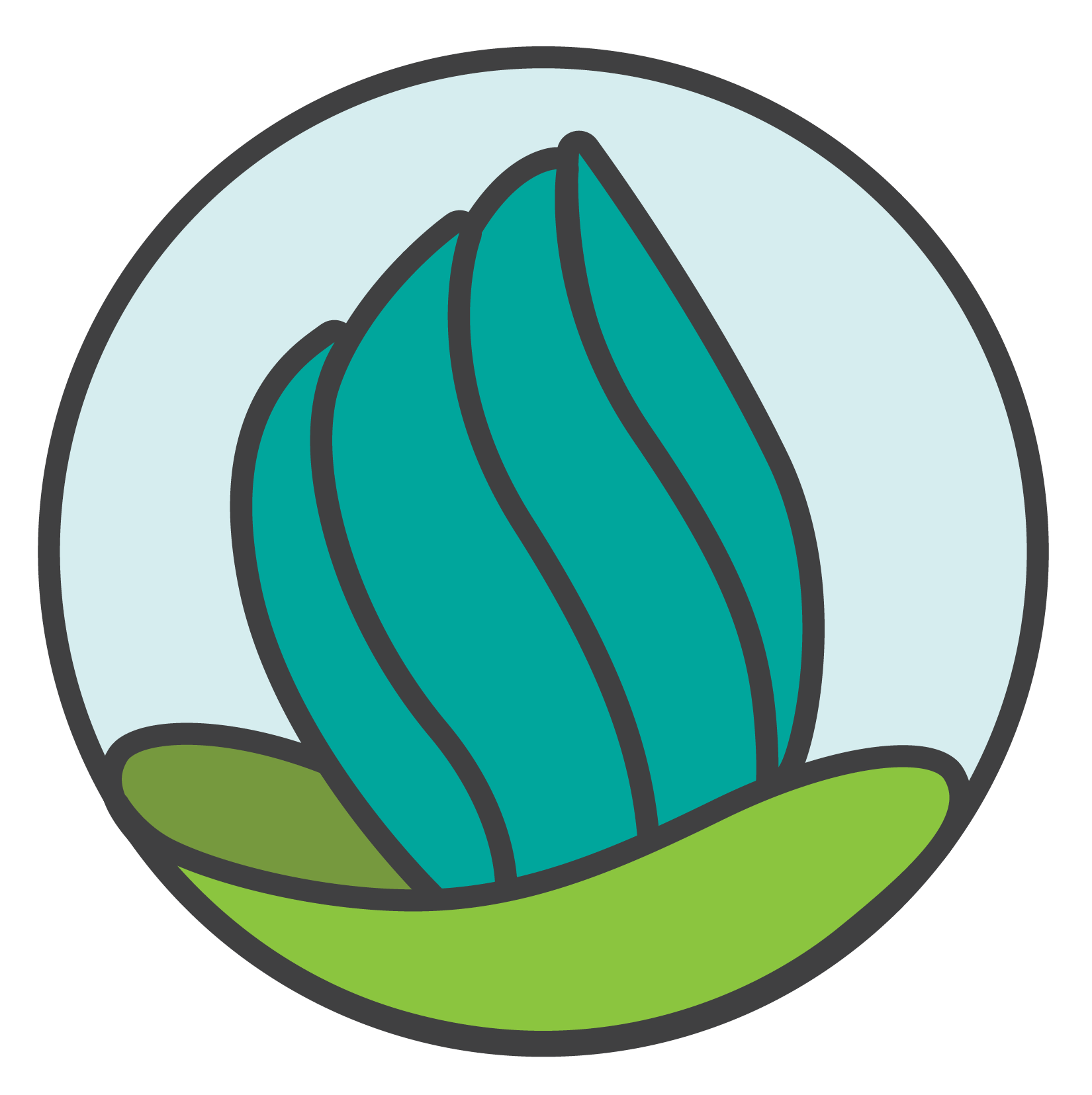 NDC logo. A teal stylized torch with green base.