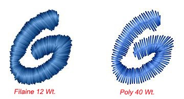 letter g demonstrated with filaine 12 and poly 40