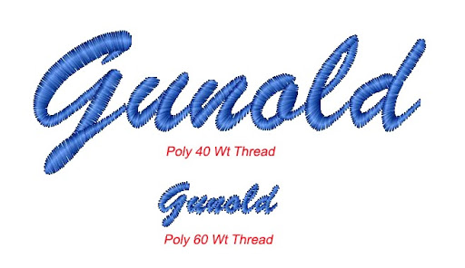 word gunold demonstrated with Poly 40 and Poly 60 weight thread