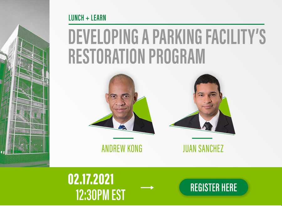 Join us for the next FREE session in the WGI Lunch & Learn series! WGI's Andrew Kong and Juan D. Sanchez will discuss the leading causes of deterioration and potential structural failures that can arise in various types of parking structures, and how you can initiate a restoration program to protect your parking structure.