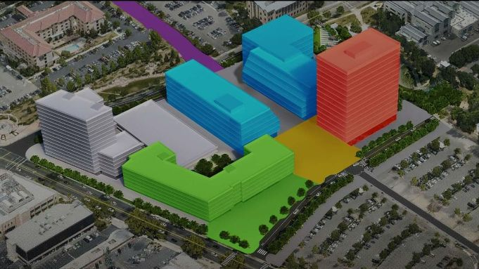 Aerial view of proposed Aggie Square development