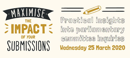 Banner advertising the Parliament of Victoria's submission workshop taking place on Wed 25 March from 10.30am to 12.00pm. Free event. Click the image for more information and to register.