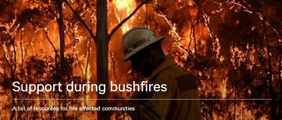 Firefighter in front of a group of trees on fire - text reads: Support during bushfires - a list of resources for fire affected communities and when clikced this takes you to a resource webpage on VCOSS website