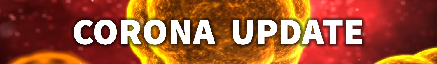 A thin banner showing yellow cells under a microscope that are floating on a red background. The words read CORONA UPDATE