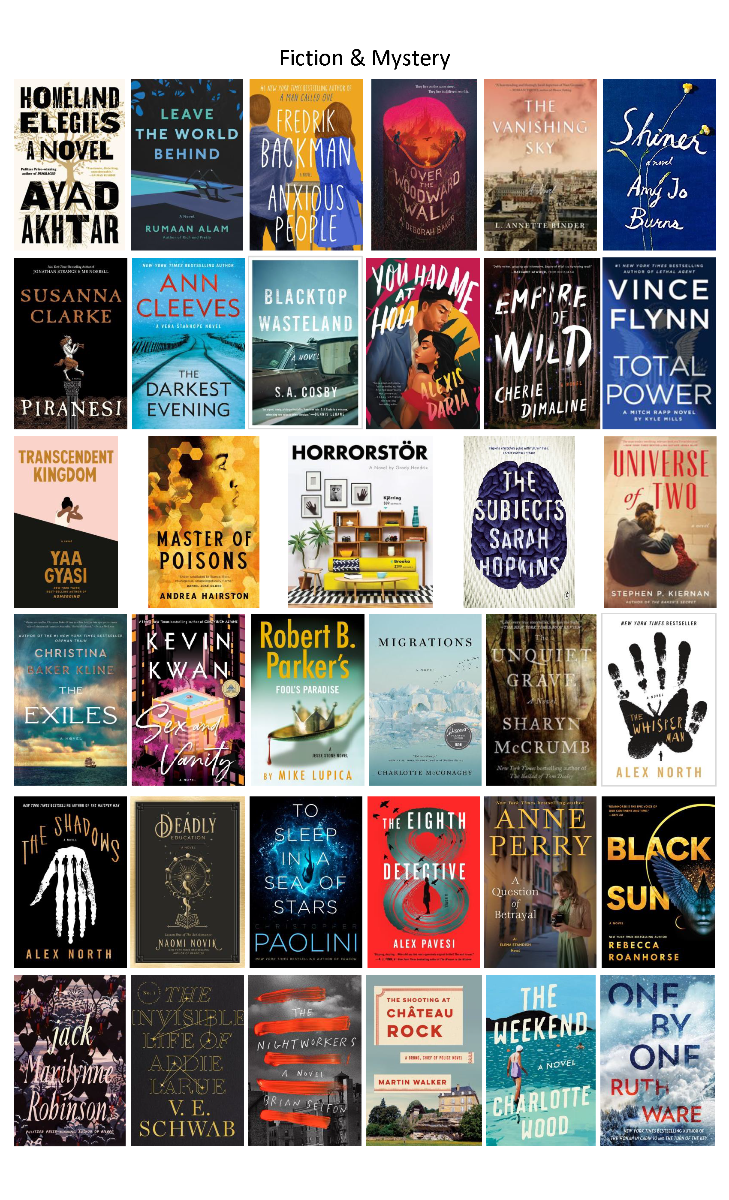 Fiction & Mystery Books Ordered August 2020