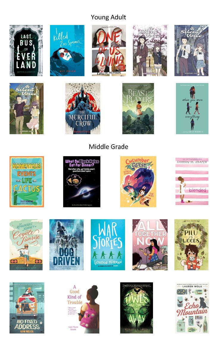 Young Adult and Middle Grade books on order for July 2020