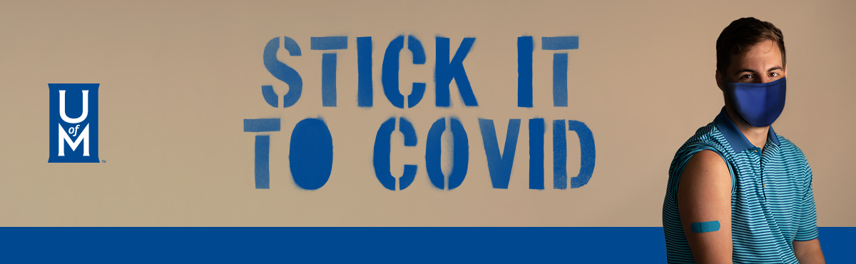 Stick it to COVID (image of staff member with sleeve pulled up to show blue bandaid, wearing blue mask)
