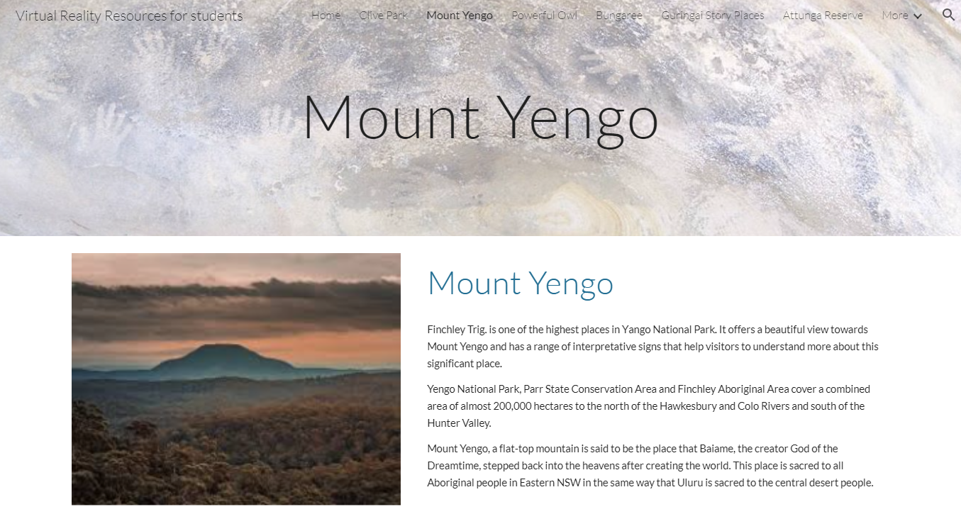 Image of the Mount Yengo Virtual Reality Resource