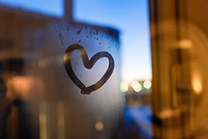 Heart on a window