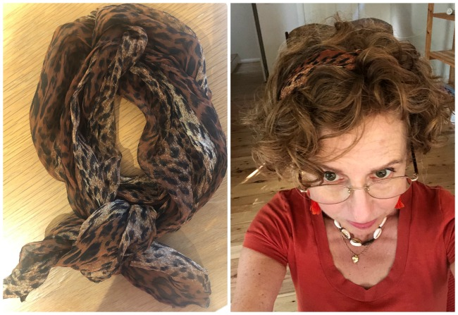 scarf worn as headband
