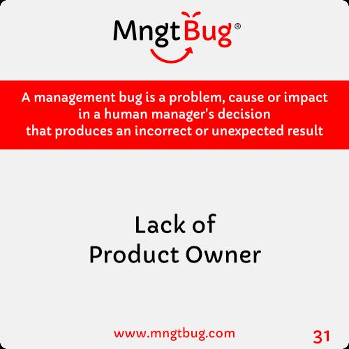 Management Bug 31 Lack of Product Owner
