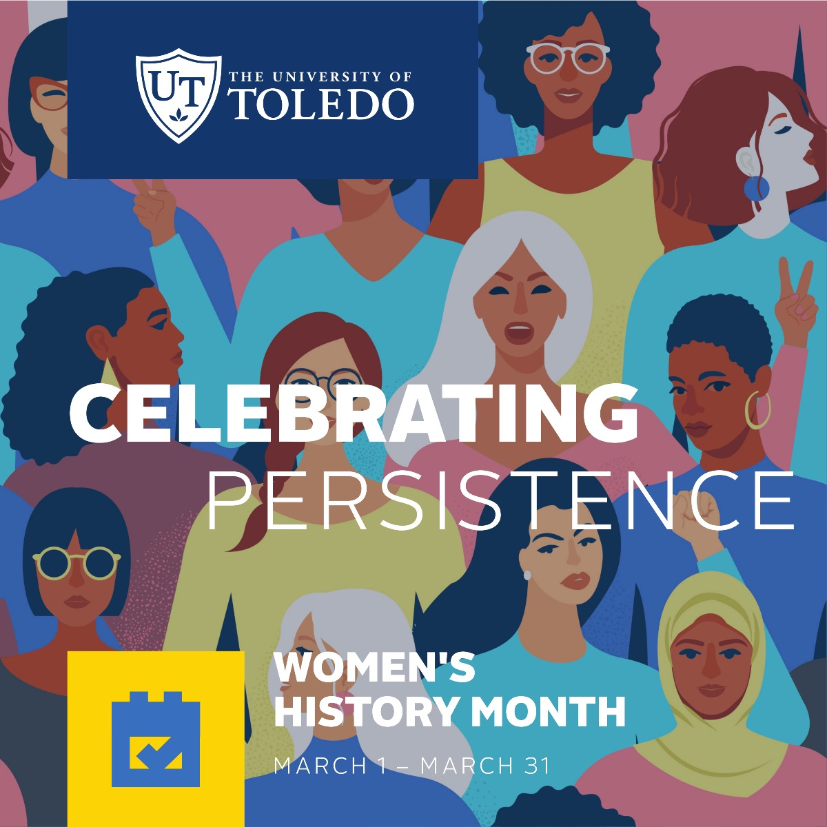 Women's History Month artwork with theme Celebrating Persistence, March 1-31.